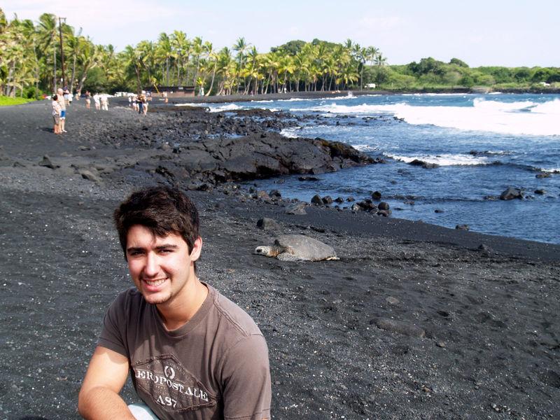 Skinner visit - Ryan and turtle - Punaluu Black Sand Beach