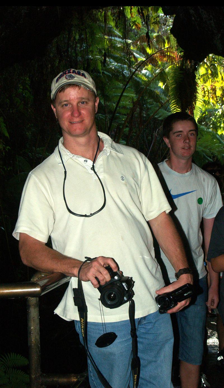 Skinner visit - Eric at Thurston Lava Tube - Volcano's National Park