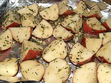 CNY Dinner - garkic-rosemary potatoes in OO