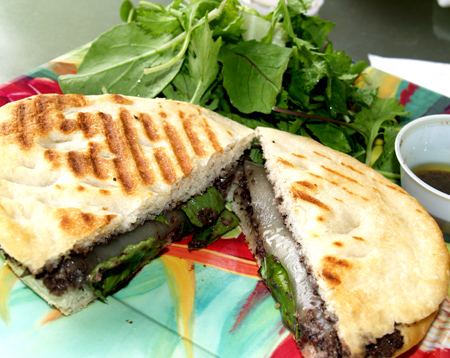 The Courtyard Cafe - Focaccia-Provolone, basil, and olive with walnut tapenade