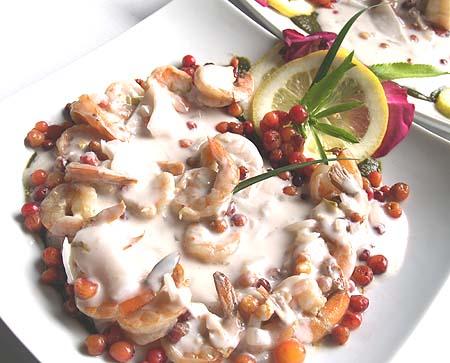 Taste of Puna - end place - Ohelo Berry coconut Shrimp - Graciano del Mar
