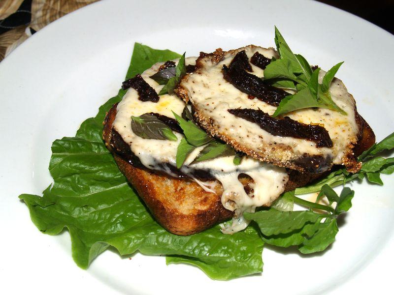 Eggplant open face sandwich