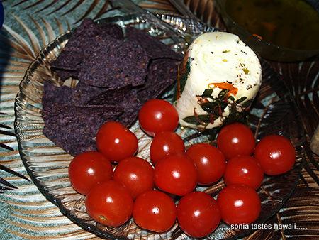 Soup & Bread - mozzarella, blue corn chips & cherry tomatoes