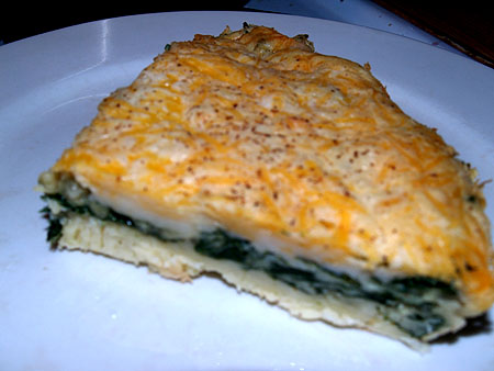 Spinach Impossible Pie slice