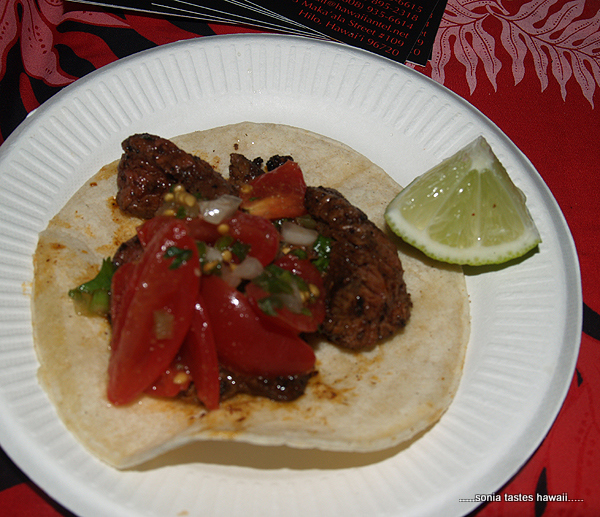 Taste - Hilo Bay - Beef top sirloin carnitas on tortillas