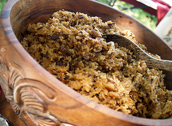 BD Luau - Mixed rice in wooden bowl