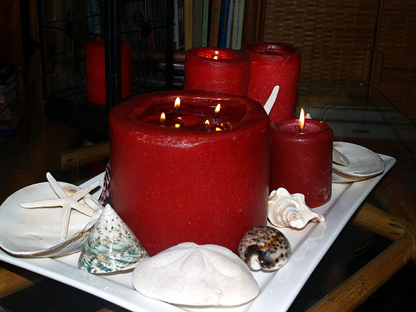 NYE - candles and shells
