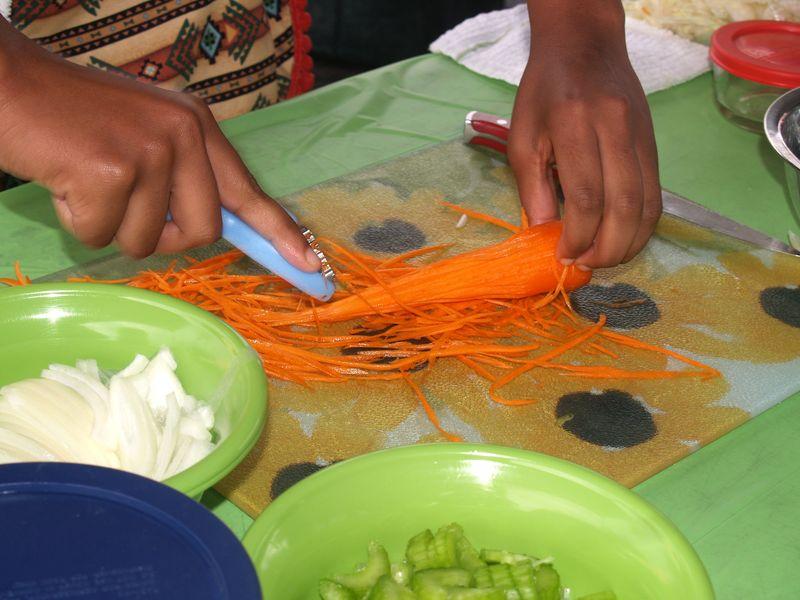 Bindu - Shredding carrots