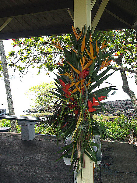 BD Luau - pavilion flower decorated posts