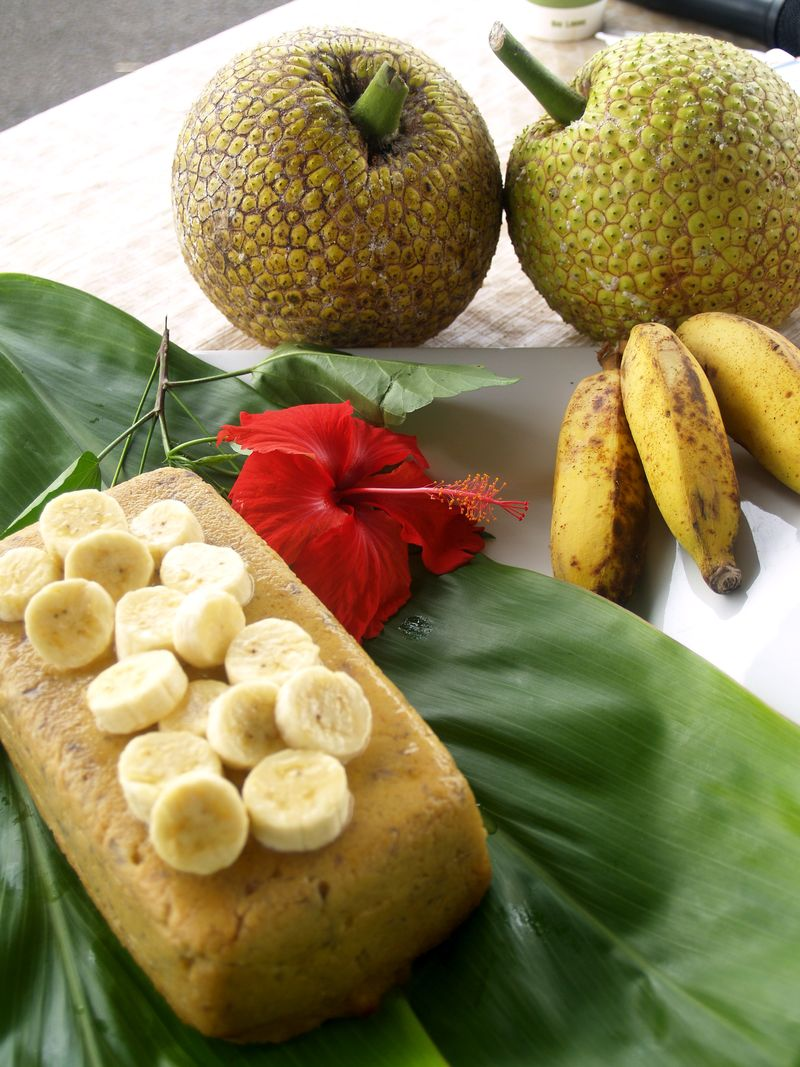 Breadfruit & Banana Custard - the molded custard 1