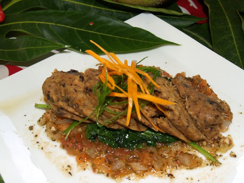 Breadfruit 2012 - 'Ulu Sausage wMarinara Sauce & Sauteed Spinach
