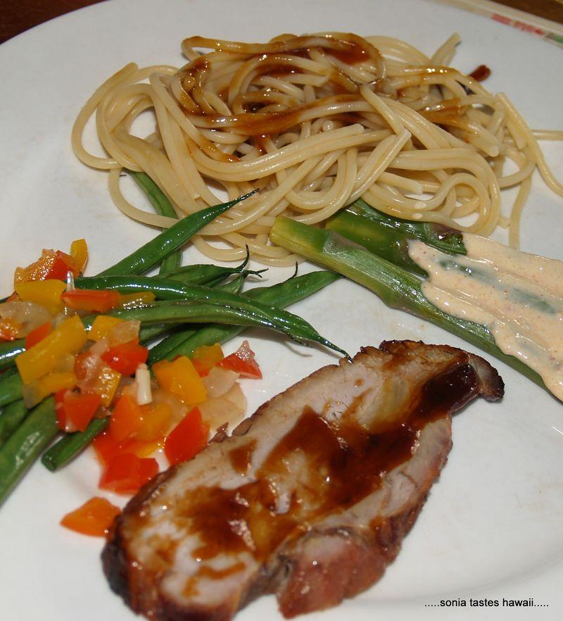 CNY 13 - dinner 3a - Hoisin pork, haricot verdes, asparagus and noodles