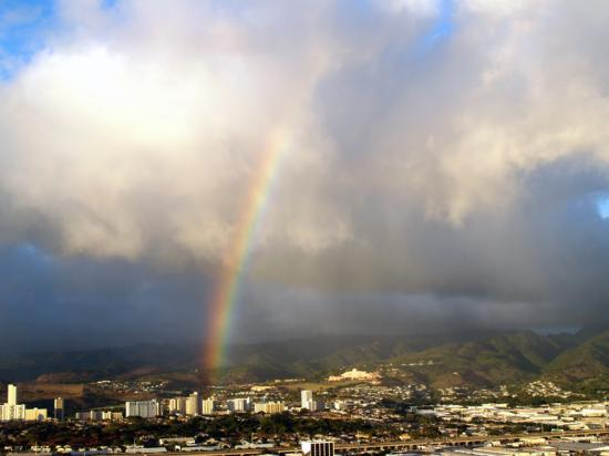 Honolulu rainbow - from airplane at take off