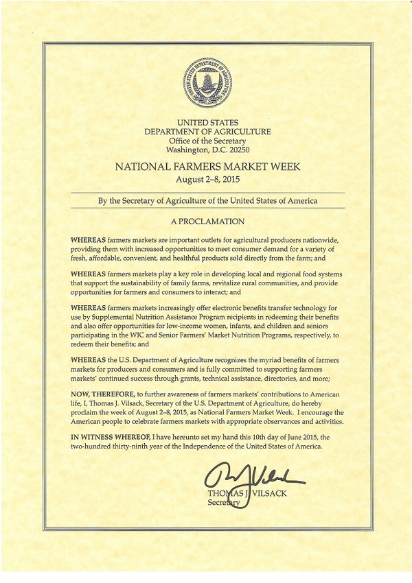 Farmers Market week proclamation