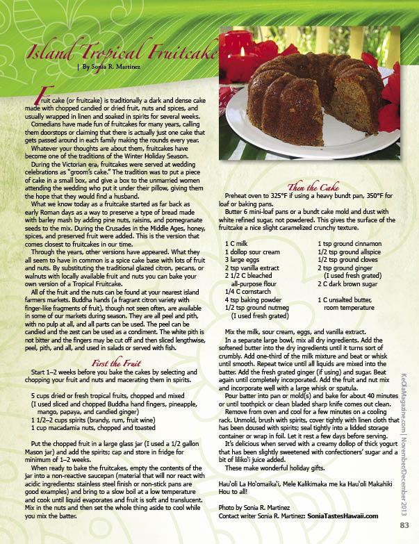 Ke Ola - 12 - Holiday - Tropical Fruitcake