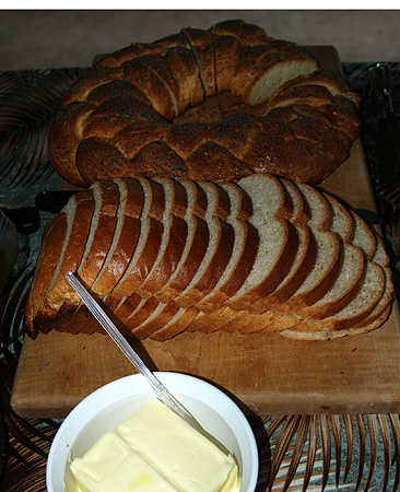 Soup & Bread - honey wheat in front - braided bread in back