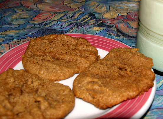 Flourless PB cookies & milk
