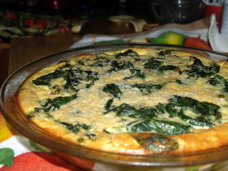 Impossible Pie - spinach